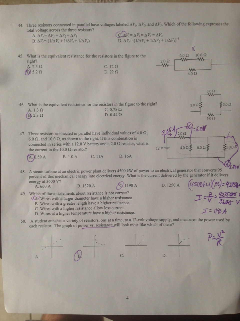 Phys-A and B-DL: Answers to Physics B Multiple Choice Practice Final